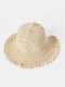 Women Solid Color Fungus Edge Back Opening Sun Protection Straw Hat - #02