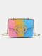Cute Heart-shaped Flap Stitching Color Wearable Exquisite Hardware Square Bag PVC Jelly Cosmetic Bag - #05