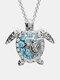 Luxury Alloy Diamonds Ocean Turtle-shape Necklace - Silver