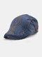 メンズコットンアーガイル柄刺繍スターストライプレザーラベルカジュアルベレーフラットキャップ - 濃紺