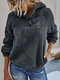 Solid Color Long Sleeves Casual Button Hoodies For Women - Gray
