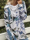 Elastic High-neck Calico Printed Casual Plus Size Blouse - Blue