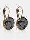 Metal Round Glass Cat Stick Out Head Print Women Earrings - Bronze