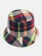 Women & Men Plaid Pattern Retro Port Style Windproof Soft All-match Travel Bucket Hat - #09