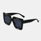Unisex Casual Full Thick Frame Square Shape Letter Printing UV Protection Sunglasses - Black
