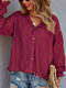 Solid Button Hollow V-neck Long Sleeve Blouse for Women - Wine Red