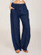 Solid Color Drawstring Waist Wide Leg Casual Pants For Women - Dark Blue