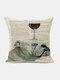 Animal Head Wine Glass Pattern Linen Cushion Cover Home Sofa Art Decor Throw Pillowcase - #17
