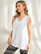 Solid Color Lace Patchwork V-neck Sleeveless Casual Tank Top - White