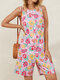 Flower Print Front Button Lace Up Back Sleeveless Romper With Pocket - Pink