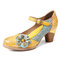 SOCOFY Floral Leather Buckle Ankle Strap Chunky Heel Pumps Mary Jane Dress Shoes - Yellow