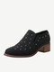 Women Casual Sequined Elastic Band Round Toe Chunky Heel Short boots - Black