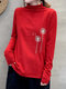Calico Printed Long Sleeve Half-Collar T-shirt For Women - Red