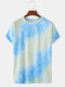 Mens Tie Dye Print Casual Breathable & Thin O-Neck T-Shirts - Blue