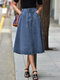 Casual High Waist Solid Color Plus Size Denim Skirt with Pockets - Light Blue