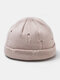 Unisex Acrylic Solid Color Hole Knitted Hat Brimless Beanie Landlord Cap Skull Cap - Beige