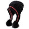 Women Matching Knit Hat And Glove Winter Set Cap With Ear Flaps Beanie Hat with Faux Fur Pom Pom - #08