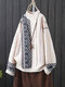 Knit Print Half Collar Long Sleeve Vintage Pullover Sweater For Women - Beige