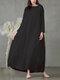 カジュアルソリッドカラーAラインルーズロングスリーブPlusサイズドレス - ブラック