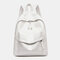 Women Waterproof Large Capacity Solid Casual Backpack - White