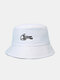Unisex Cotton Letters Gesture Pattern Embroidered All-match Sunscreen Bucket Hat - White