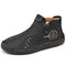 Men Hand Stitching Microfiber Leather Non Slip Soft Ankle Boots - Black