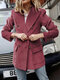 Solid Color Button Corduroy Blazer Jacket for Women - Pink