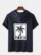 Mens Letter Coconut Tree Print Short Sleeve Hooded T-Shirt - Navy