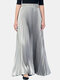 Solid Color Elastic Waist Long Pleated Skirt For Women - Silver