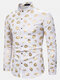 Mens Allover Lips Glitter Print Stand Collar Cotton Party Long Sleeve Shirts - White