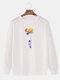 Mens Colorful Planet Astronaut Print Cotton Casual Crew Neck Pullover Sweatshirts - White