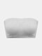 Women Solid Color Seamless Wireless Removable Chest Pad Bandeau Bra - Light Grey