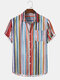 Mens Colorful Striped Button Up Holiday Short Sleeve Shirts With Pocket - Red