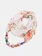 Vintage Chiffon Women Scarf Necklace Beaded Pendant Lattice Flowers Pattern Silk Scarf - #09