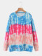 Color Block Long Sleeve Tie Dye Printed O-neck Sweater - Pink