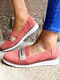 Plus Size Women Casual Elastic Slip-On Breathable Comfy Flat Shoes - Pink