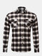 Chest Pockets Checked Business Casual Shirt for Men - #01