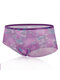 Sexy See Through Mesh Floral Seamless Mid Waisted Panties - Purple