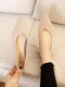 Women Pointed Toe Soft Solid Color Casual Shallow Slip On Knitted Flats - Beige