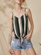 Multi-color Stripe Strap Knotted Button Backless Cami - Pink