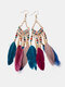 Alloy Feather Bohemia Fringed Feather Earrings Long For Women - Rainbow