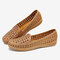 Womens Breathable Flowers Hollow Slip On Solid Color Beach Flats Shoes - Brown