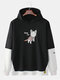 Mens Cute Cat Letter Print Patchwork Doctor Sleeve Cotton Casual Hoodies - Black