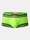 Mens Contrasting Colors U Convex Breathable Boxer Briefs - Green
