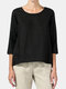 Solid Color 3/4 Sleeve O-neck Casual T-shirt - Black