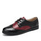 LOSTISY Color Block Lace Up Casual Women Brogue Shoes - Black