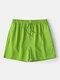 Pantalones cortos deportivos para correr con cordón casual de secado rápido de color puro para hombres - Verde