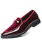 Large Size Men Leather Splicing Slip On Formal Dress Shoes - Red