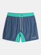DESMIIT Quick Dry Mesh Lined Drawstring Board Shorts With Liner Pouch - Navy