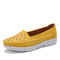 LOSTISY Women Hollow Comfy Massage Soft Sole Casual Flats - Yellow